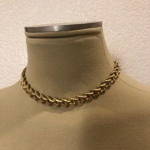 Vintage Monet gold tone loop design necklace